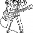 Stock Vector: Girl musiciwith guitar.