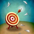 Archery Target with Bull's Eye Arrow and Paper Airplanes Illustration — Stock Photo