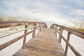 Boardwalk through Sand Dunes at the Beach — Stock Photo