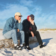 Two Bored Retired Men Seated at the Beach — Stock Photo #11536037