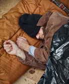 Homeless Man Sleeping in the Street — Stock Photo