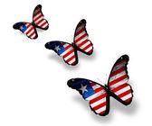 Tre farfalle di bandiera liberia, isolati su bianco — Foto Stock
