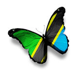 United Republic of Tanzania flag butterfly, isolated on white — Stock Photo