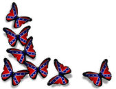 Confederate Rebel flag butterflies, isolated on white background — Stock Photo