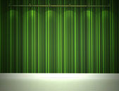 Illuminated green wall and white floor — Stock Photo