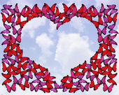 Many red and pink butterflies make frame of heart on white — Foto de Stock