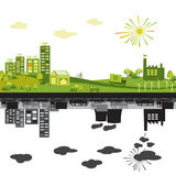 Green city and polluted — Stock Vector
