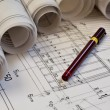 Architectural blueprints project drawing - Stock Photo