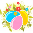 Easter eggs and flowers - Foto Stock