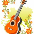 Stock Photo: Guitar and flowers