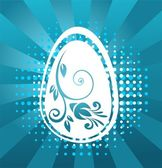 Easter egg with blue pattern — Stock Photo