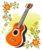 Guitar and flowers — Stock Photo