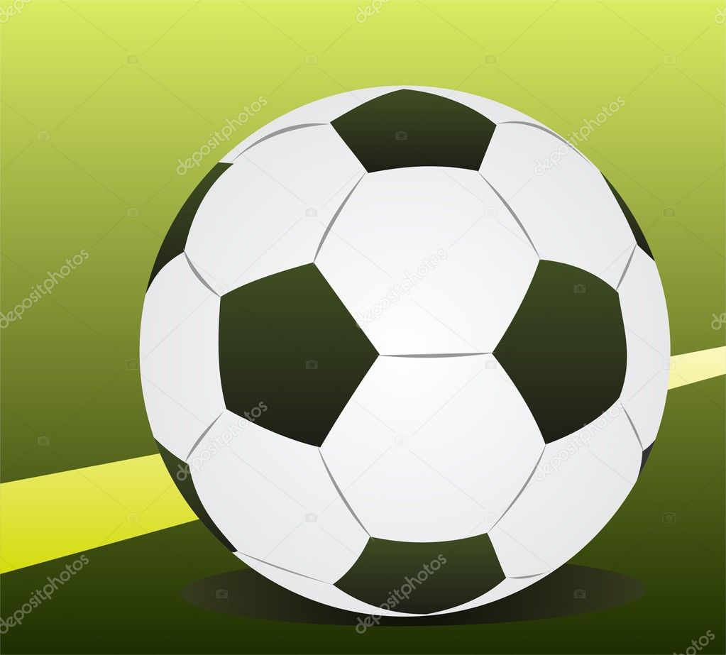 Football ball isolated on a green background. — Stock Photo #11677582
