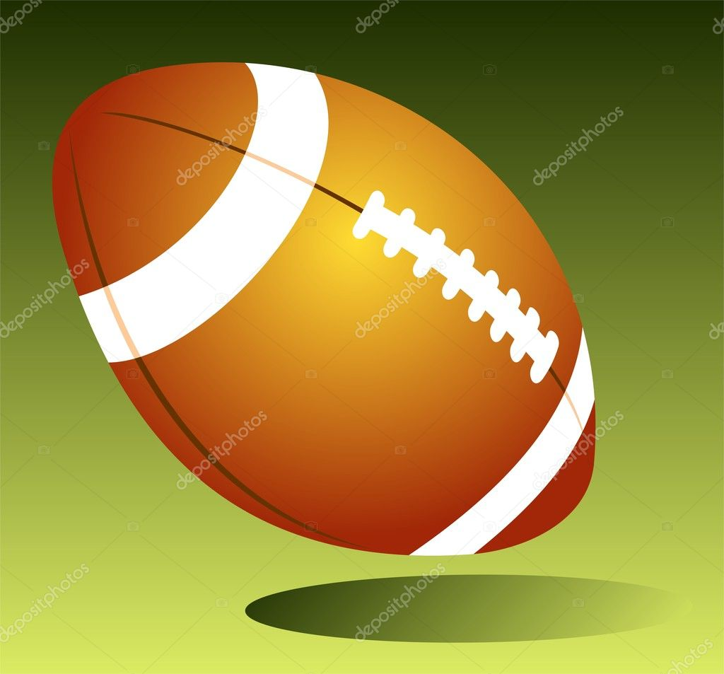 Rugby ball isolated on a green background.  Stock Photo #11677601