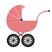 Baby carriage for the girl — Stock Vector