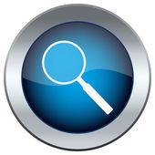 Botón azul con la lupa — Vector de stock