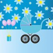 Blue baby stroller — Stock Vector #11590641