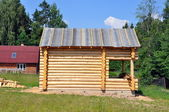 Wooden frame on the dacha — Stock Photo