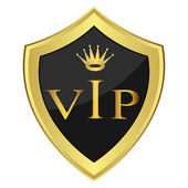 Black shield with the inscription'' VIP'' — Stockvector