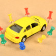 Toy car and push pin — Stock Photo #11916338