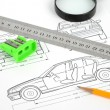 Stock Photo: Car blueprint