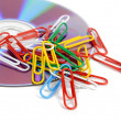 Paper clips and DVD — Foto Stock