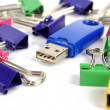 Stock Photo: USB disk and paper clip