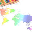 World map and color pencils — Stock Photo #12013685
