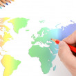 World map and color pencils — Stock Photo #12013705