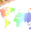 World map and color pencils — Stock Photo #12013727