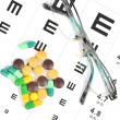 Medicine and eye chart — Stock Photo #12014218