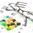 Medicine and eye chart — Stock Photo