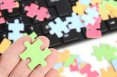 Keyboard and puzzle — Stock Photo