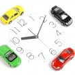 Toy car and clock face — Stock Photo
