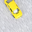 Binary code and toy car — Stock Photo