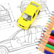 Car blueprint and pencils — Stock Photo #12053838