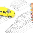 Car blueprint and pencils — Stock Photo #12053844