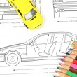 Car blueprint and pencils — Stock Photo #12053854