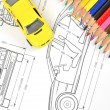 Car blueprint and pencils — Stock Photo #12053861