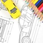 Car blueprint and pencils — Stock Photo #12053861