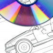 Car blueprint and DVD - 图库照片
