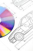 Car blueprint and DVD — Stock Photo