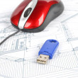 USB disk ,red mouse and blueprint - Photo