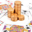 Poker and coins — Stock Photo