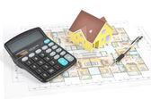 Blueprint and model house — Stock Photo