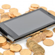 Smart phone and coin — Stock Photo