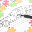 Car blueprint — Stockfoto