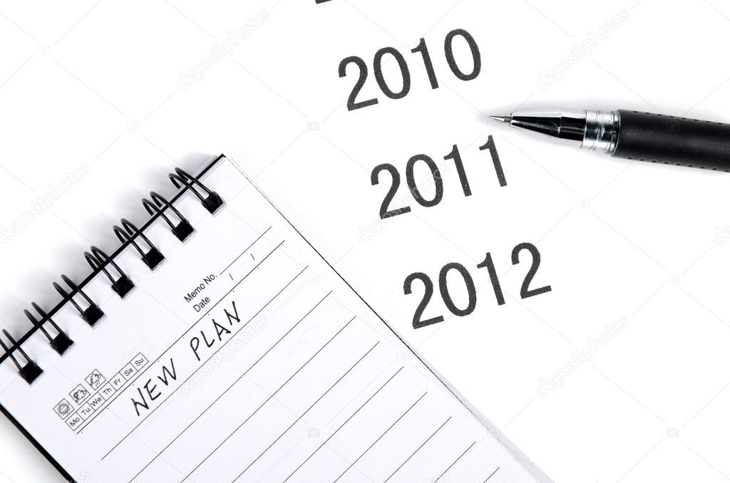 Notepad and pen on time line — Stock Photo #12074321
