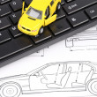 Computer keyboard and car blueprint — Stock Photo #12094692