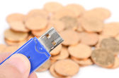 USB disk and coins — Stock Photo